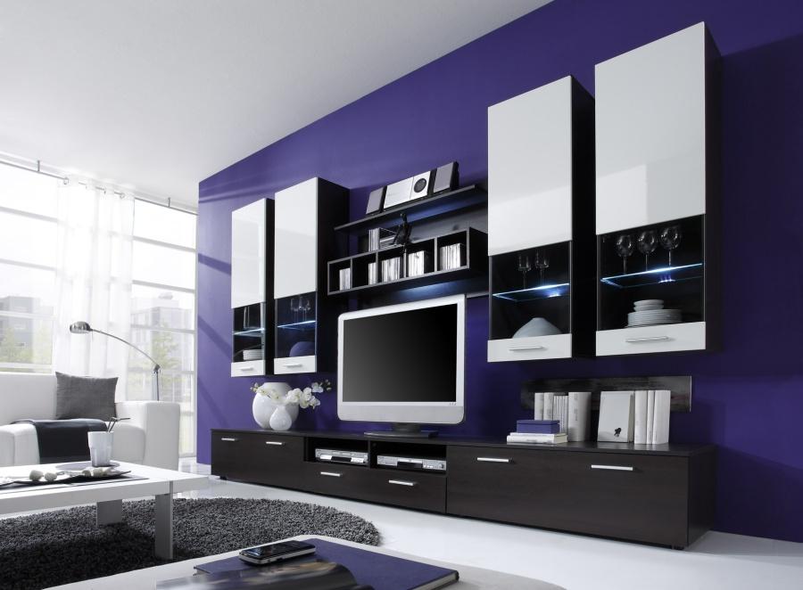 wohnzimmer wohnwand nelson wohnwand ii eicheweiss matt living wohnzimmer wohnzimmer idee. Black Bedroom Furniture Sets. Home Design Ideas