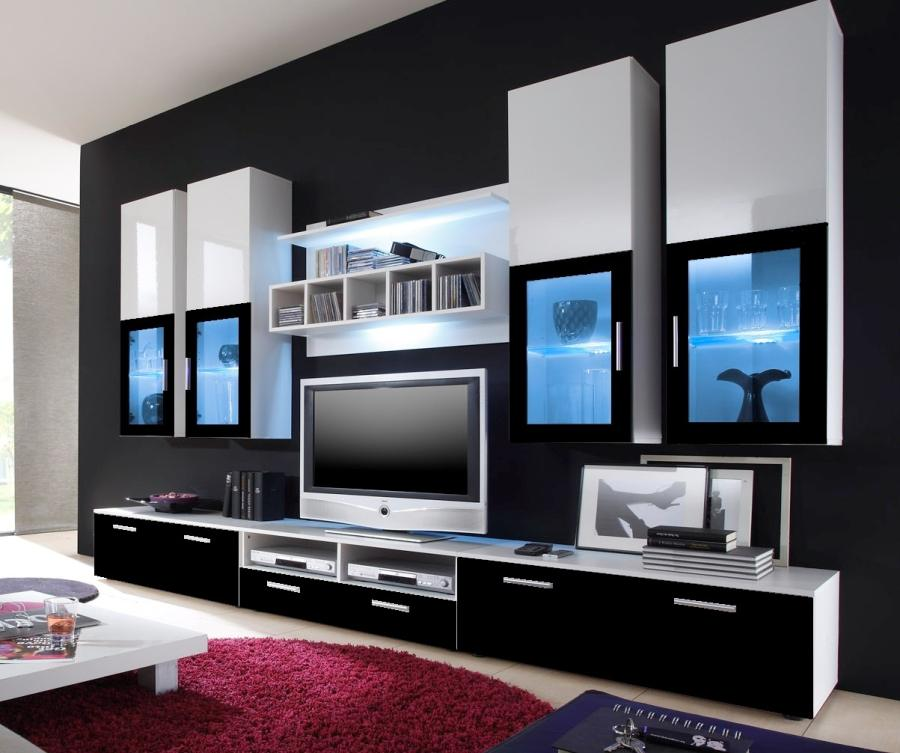 top angebot wohnwand anbauwand wohnzimmer gratis licht lyra black 08631 ebay. Black Bedroom Furniture Sets. Home Design Ideas